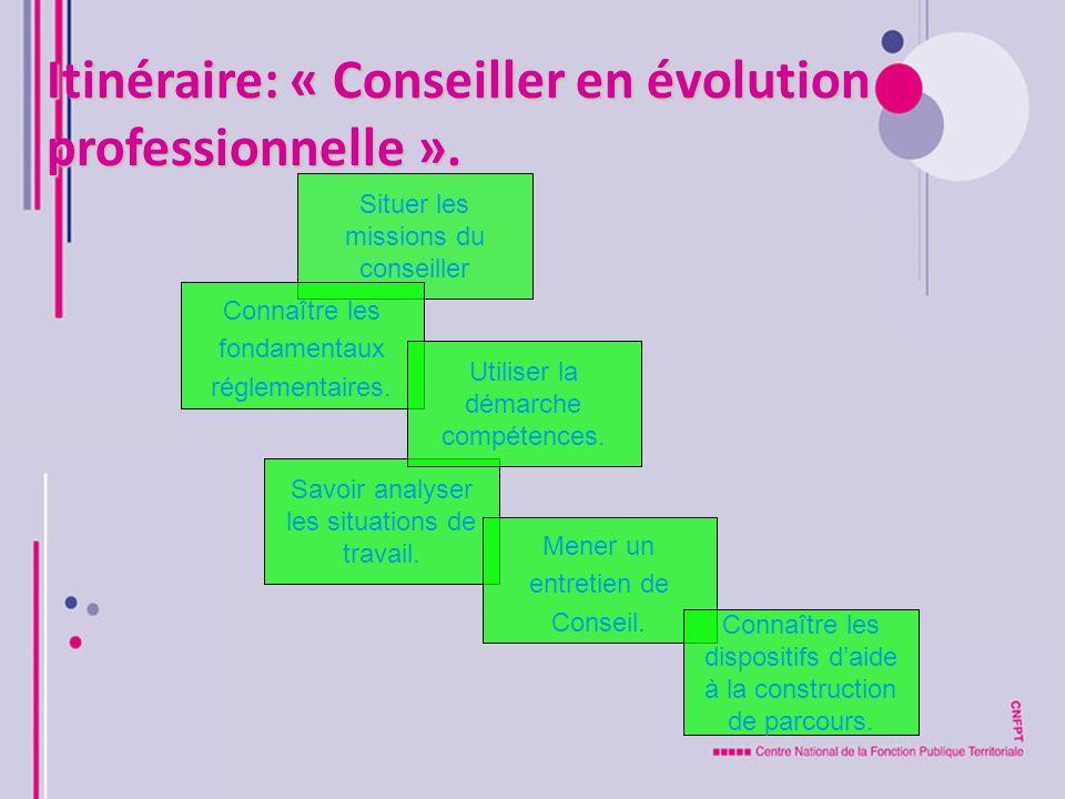 Itinéraire: « Conseiller en évolution professionnelle ». Situer les missions du conseiller Savoir analyser les situations de travail. Mener un entreti