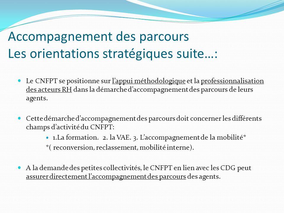 Accompagnement des parcours Les orientations stratégiques suite…: Le CNFPT se positionne sur lappui méthodologique et la professionnalisation des acte