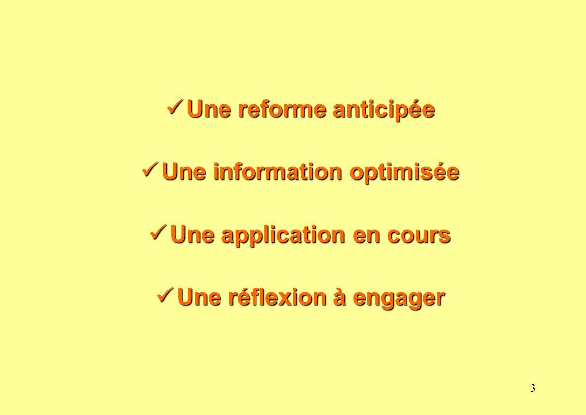 3 Une reforme anticipée Une reforme anticipée Une information optimisée Une information optimisée Une application en cours Une application en cours Un