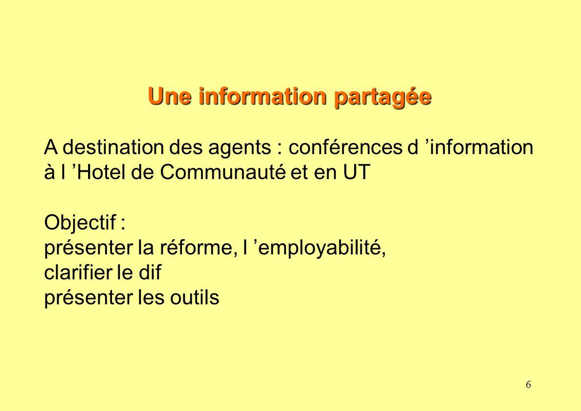 6 Une information partagée A destination des agents : conférences d information à l Hotel de Communauté et en UT Objectif : présenter la réforme, l em