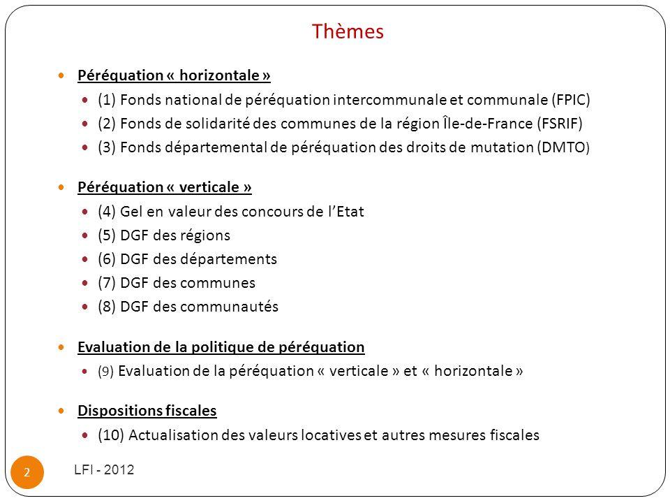 Péréquation « horizontale » (1) Fonds national de péréquation intercommunale et communale (FPIC) (2) Fonds de solidarité des communes de la région Île