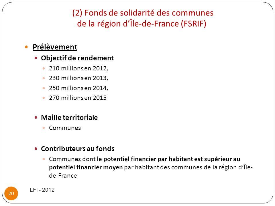 (2) Fonds de solidarité des communes de la région dÎle-de-France (FSRIF) Prélèvement Objectif de rendement 210 millions en 2012, 230 millions en 2013,