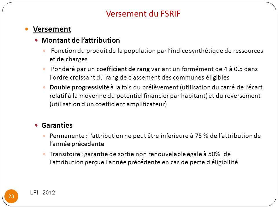 Versement du FSRIF Versement Montant de lattribution Fonction du produit de la population par lindice synthétique de ressources et de charges Pondéré