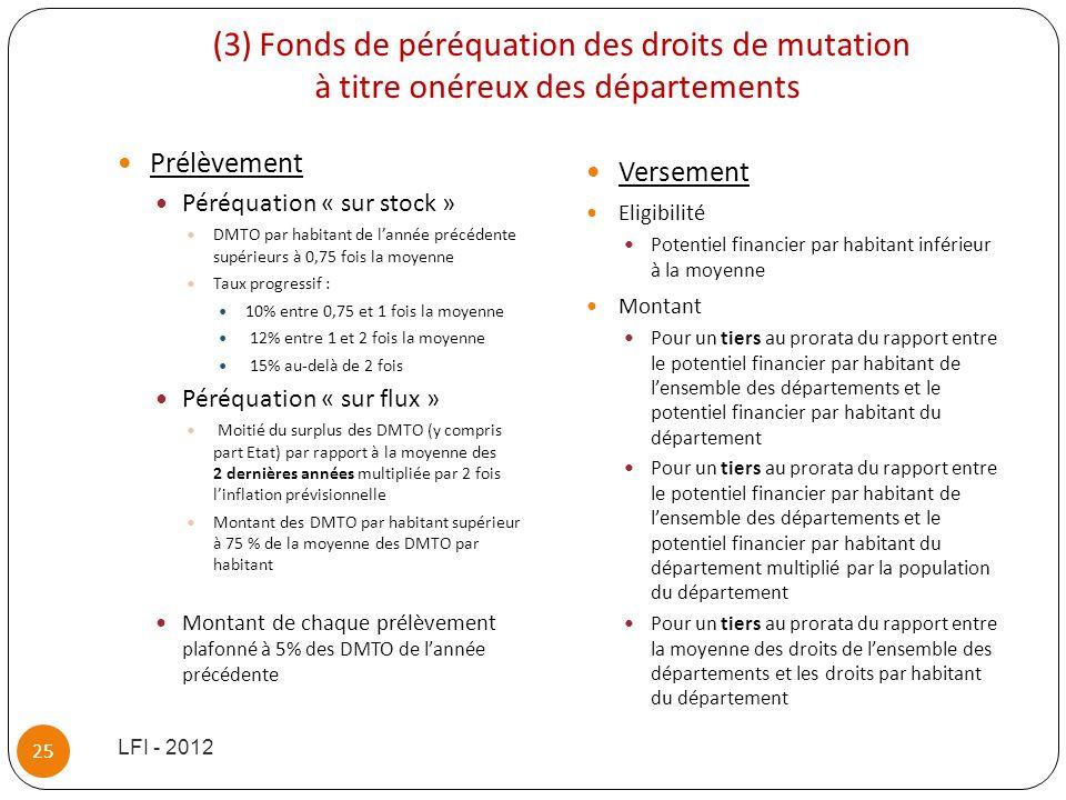 (3) Fonds de péréquation des droits de mutation à titre onéreux des départements Prélèvement Péréquation « sur stock » DMTO par habitant de lannée pré