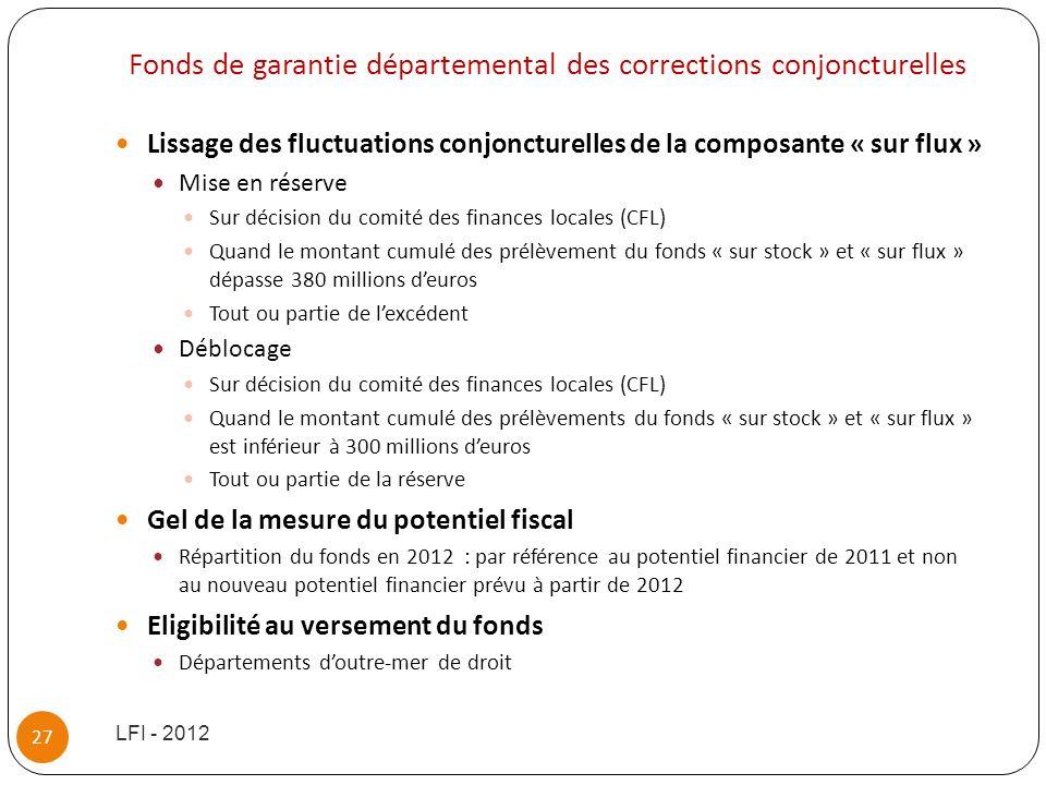 Fonds de garantie départemental des corrections conjoncturelles Lissage des fluctuations conjoncturelles de la composante « sur flux » Mise en réserve