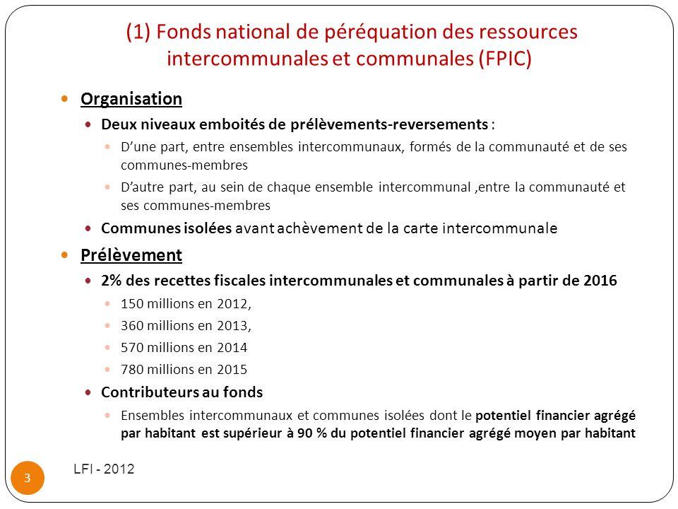 (1) Fonds national de péréquation des ressources intercommunales et communales (FPIC) Organisation Deux niveaux emboités de prélèvements-reversements