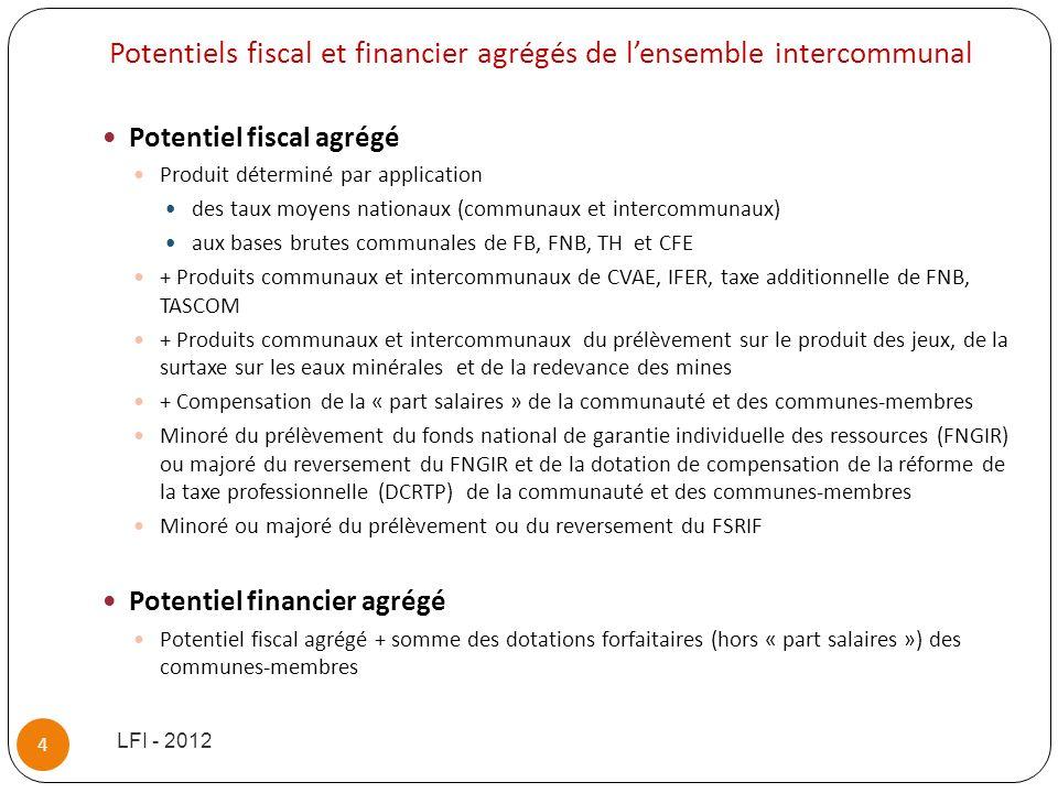 Potentiels fiscal et financier agrégés de lensemble intercommunal Potentiel fiscal agrégé Produit déterminé par application des taux moyens nationaux