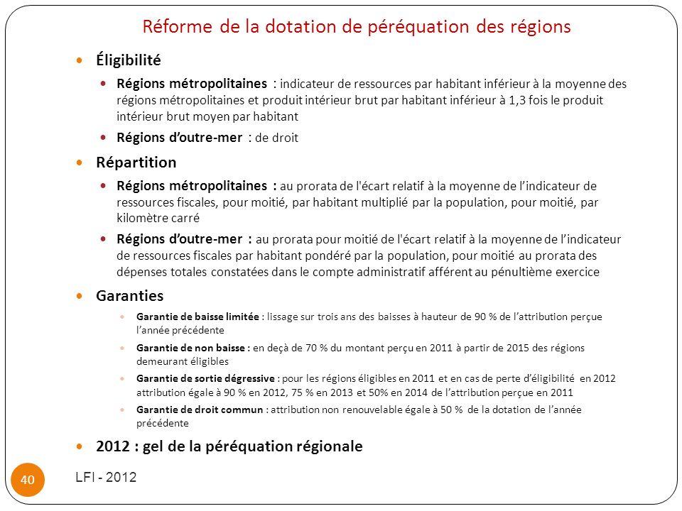 Réforme de la dotation de péréquation des régions Éligibilité Régions métropolitaines : indicateur de ressources par habitant inférieur à la moyenne d