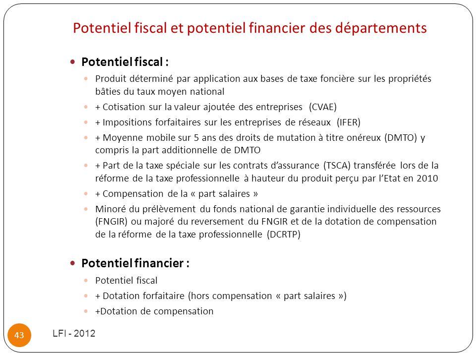 Potentiel fiscal et potentiel financier des départements Potentiel fiscal : Produit déterminé par application aux bases de taxe foncière sur les propr