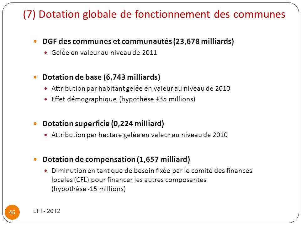 (7) Dotation globale de fonctionnement des communes DGF des communes et communautés (23,678 milliards) Gelée en valeur au niveau de 2011 Dotation de b