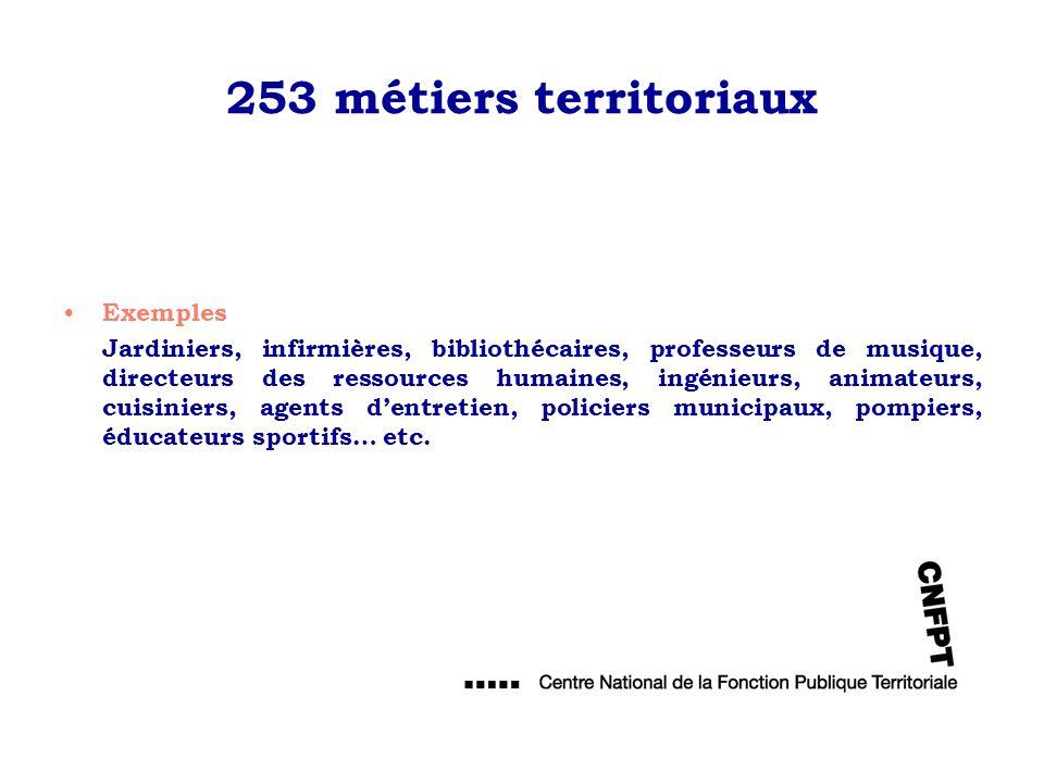 253 métiers territoriaux Exemples Jardiniers, infirmières, bibliothécaires, professeurs de musique, directeurs des ressources humaines, ingénieurs, an