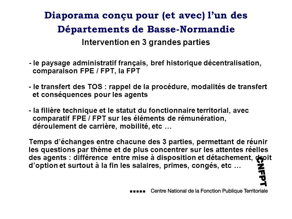 Diaporama conçu pour (et avec) lun des Départements de Basse-Normandie Intervention en 3 grandes parties - le paysage administratif français, bref his