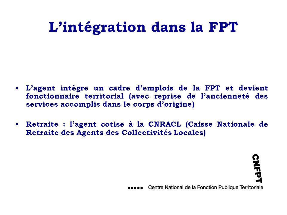 Lintégration dans la FPT Lagent intègre un cadre demplois de la FPT et devient fonctionnaire territorial (avec reprise de lancienneté des services acc