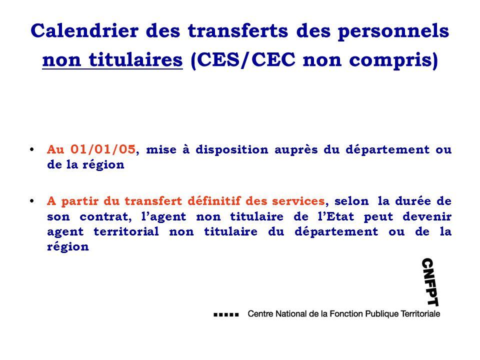 Calendrier des transferts des personnels non titulaires (CES/CEC non compris) Au 01/01/05, mise à disposition auprès du département ou de la région A