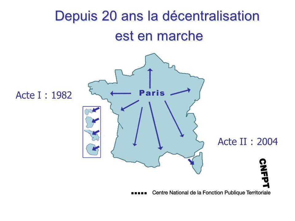 Depuis 20 ans la décentralisation est en marche Acte I : 1982 Acte II : 2004