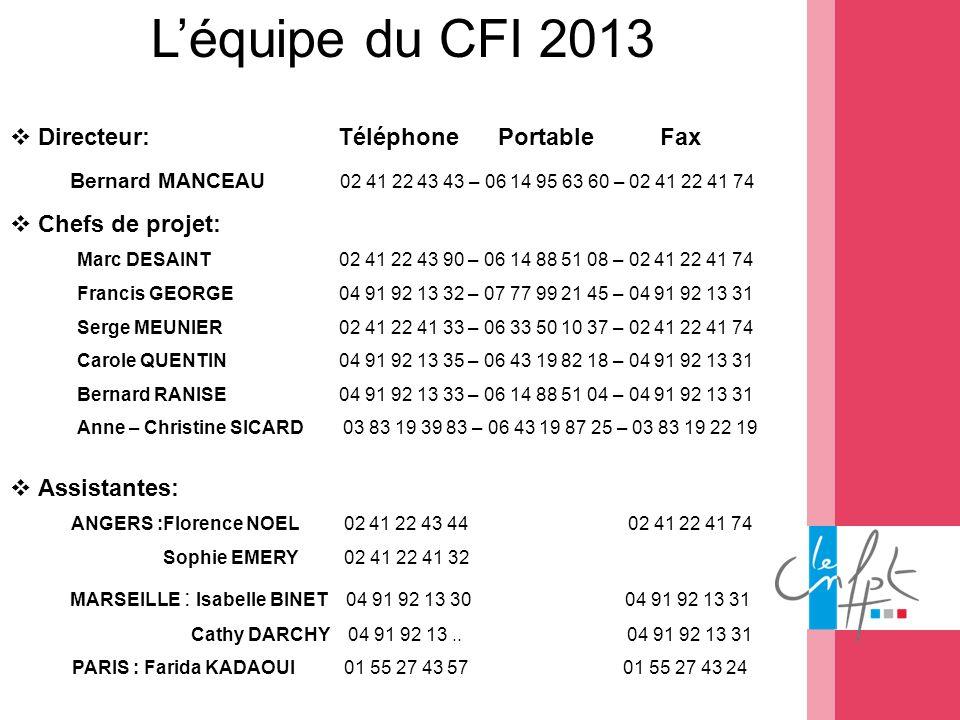 Léquipe du CFI 2013 Directeur: Téléphone Portable Fax Bernard MANCEAU 02 41 22 43 43 – 06 14 95 63 60 – 02 41 22 41 74 Chefs de projet: Marc DESAINT 0