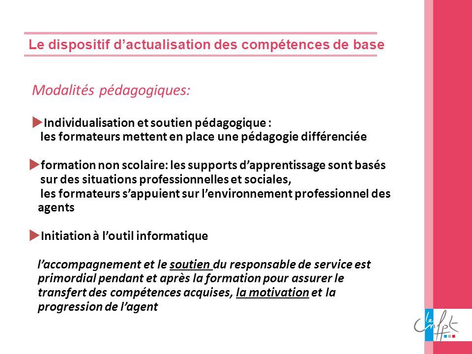 Le dispositif dactualisation des compétences de base Modalités pédagogiques: Individualisation et soutien pédagogique : les formateurs mettent en plac