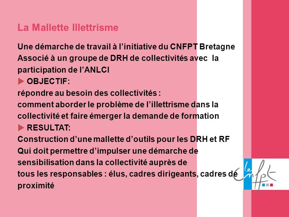 La Mallette Illettrisme Une démarche de travail à linitiative du CNFPT Bretagne Associé à un groupe de DRH de collectivités avec la participation de l