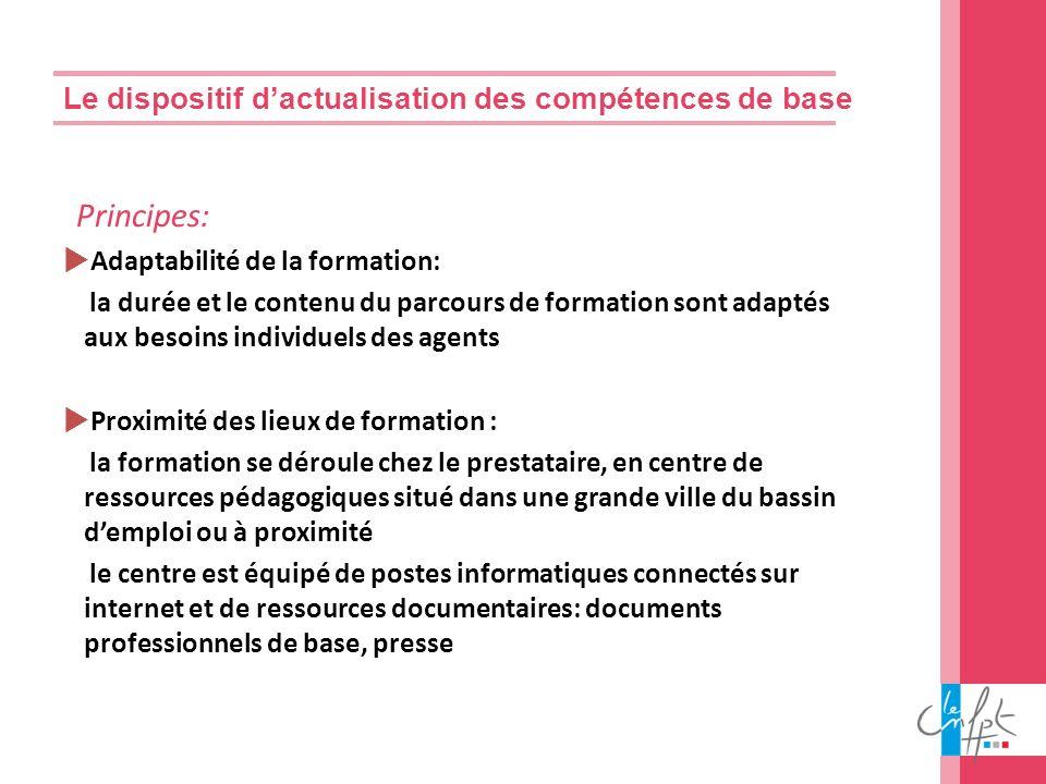 Le dispositif dactualisation des compétences de base Principes: Adaptabilité de la formation: la durée et le contenu du parcours de formation sont ada