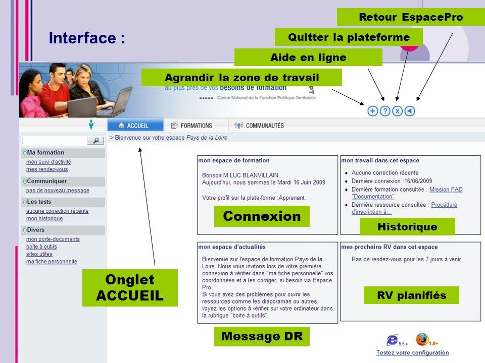 Interface : Ressources en ligne Onglet Formation