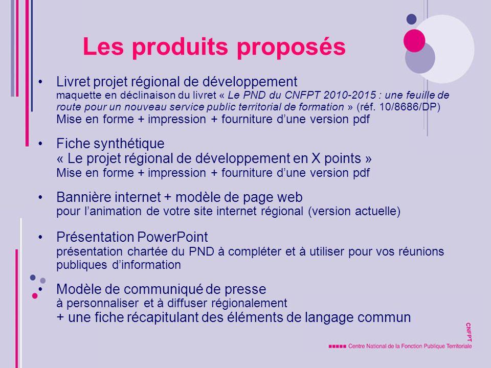 Les produits proposés Livret projet régional de développement maquette en déclinaison du livret « Le PND du CNFPT 2010-2015 : une feuille de route pou