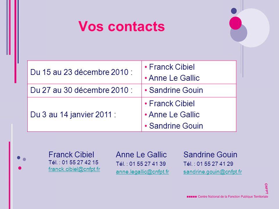 Vos contacts Franck Cibiel Tél. : 01 55 27 42 15 franck.cibiel@cnfpt.fr Anne Le Gallic Tél. : 01 55 27 41 39 anne.legallic@cnfpt.fr Sandrine Gouin Tél