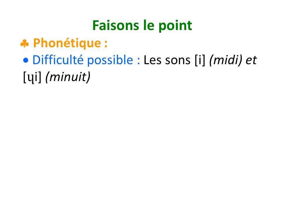 Faisons le point Phonétique : Difficulté possible : Les sons [i] (midi) et [ ɥ i] (minuit)