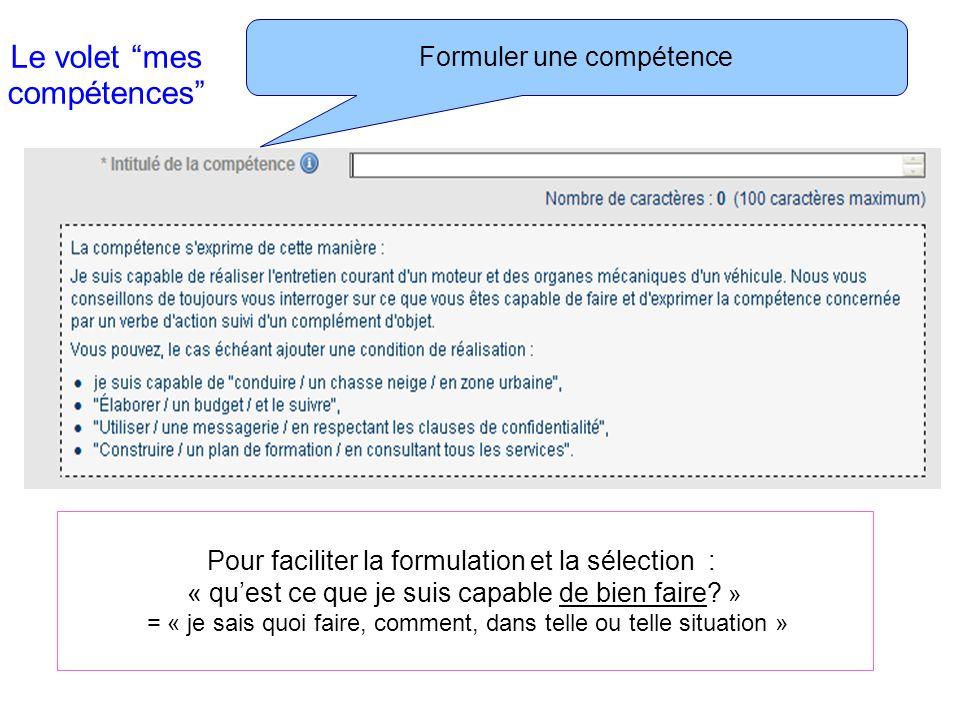 Le volet mes compétences Les « ressources » qui composent la compétence Pour agir avec compétence, on mobilise et combine différentes RESSOURCES -personnelles : savoirs, savoir faire, aptitudes, qualités….