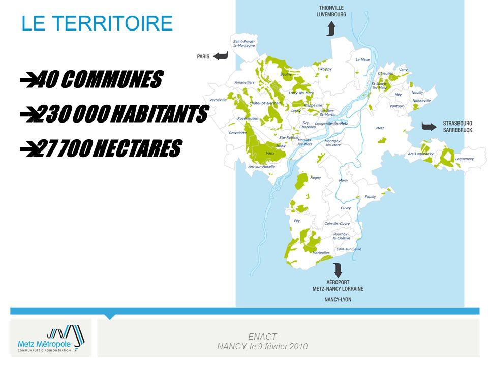 ENACT NANCY, le 9 février 2010 LE TERRITOIRE 40 COMMUNES 230 000 HABITANTS 27 700 HECTARES