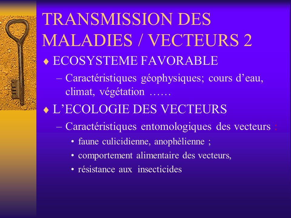 TRANSMISSION DES MALADIES / VECTEURS 3 AGENTS PATHOGENES / PARASITES – Types de parasites, caractéristiques épidémiologiques –Indices parasitologiques dans la zone –Sensibilité aux produits de lutte usuels disponibles