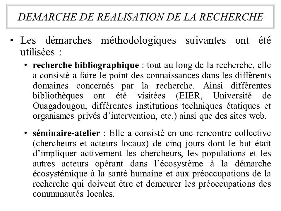 Les démarches méthodologiques suivantes ont été utilisées : recherche bibliographique : tout au long de la recherche, elle a consisté a faire le point