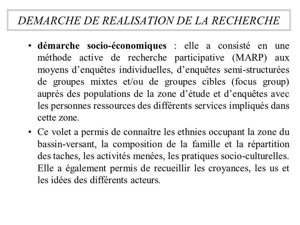 démarche socio-économiques : elle a consisté en une méthode active de recherche participative (MARP) aux moyens denquêtes individuelles, denquêtes sem