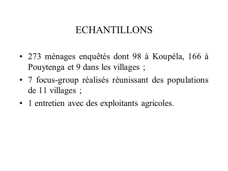 ECHANTILLONS 273 ménages enquêtés dont 98 à Koupéla, 166 à Pouytenga et 9 dans les villages ; 7 focus-group réalisés réunissant des populations de 11