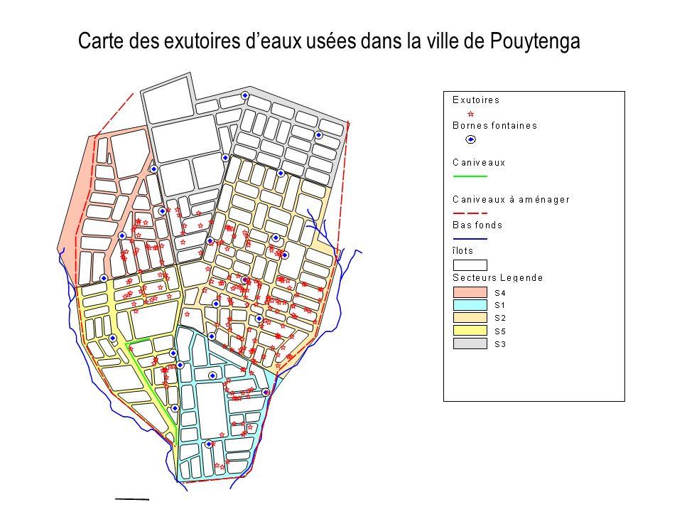 Carte des exutoires deaux usées dans la ville de Pouytenga