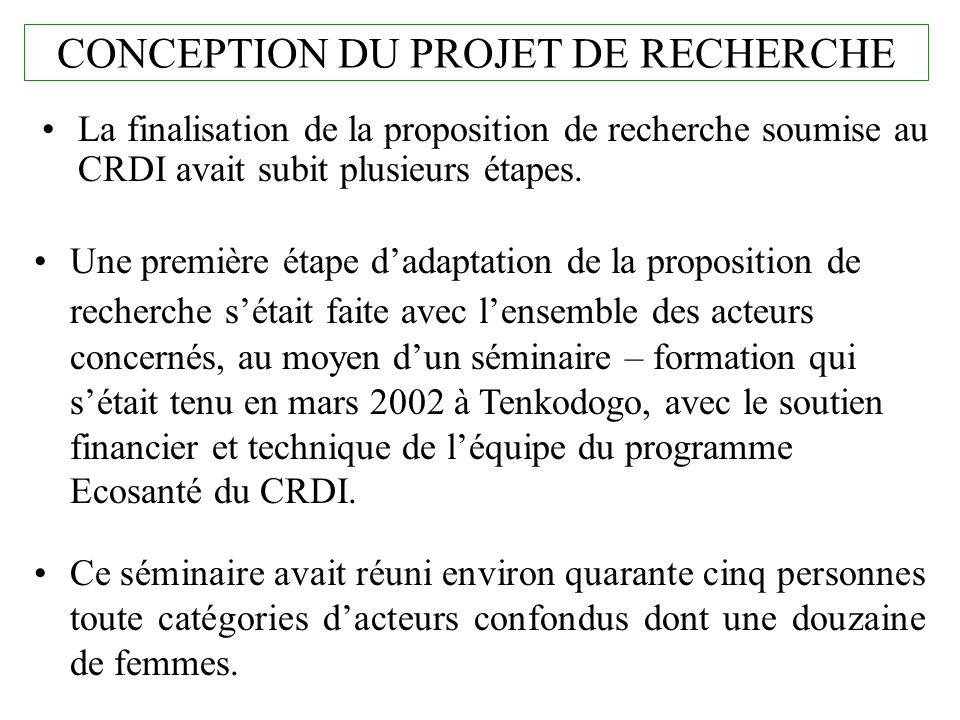 CONCEPTION DU PROJET DE RECHERCHE La finalisation de la proposition de recherche soumise au CRDI avait subit plusieurs étapes. Une première étape dada