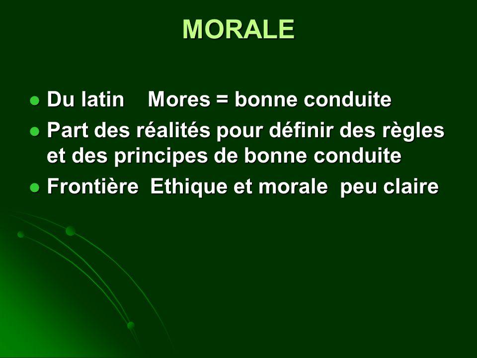 MORALE Du latin Mores = bonne conduite Du latin Mores = bonne conduite Part des réalités pour définir des règles et des principes de bonne conduite Part des réalités pour définir des règles et des principes de bonne conduite Frontière Ethique et morale peu claire Frontière Ethique et morale peu claire