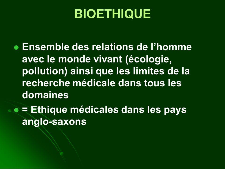 BIOETHIQUE Ensemble des relations de lhomme avec le monde vivant (écologie, pollution) ainsi que les limites de la recherche médicale dans tous les domaines = Ethique médicales dans les pays anglo-saxons