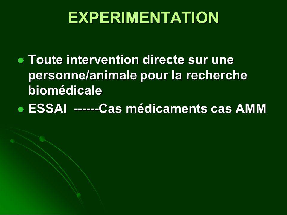 EXPERIMENTATION Toute intervention directe sur une personne/animale pour la recherche biomédicale Toute intervention directe sur une personne/animale pour la recherche biomédicale ESSAI ------Cas médicaments cas AMM ESSAI ------Cas médicaments cas AMM