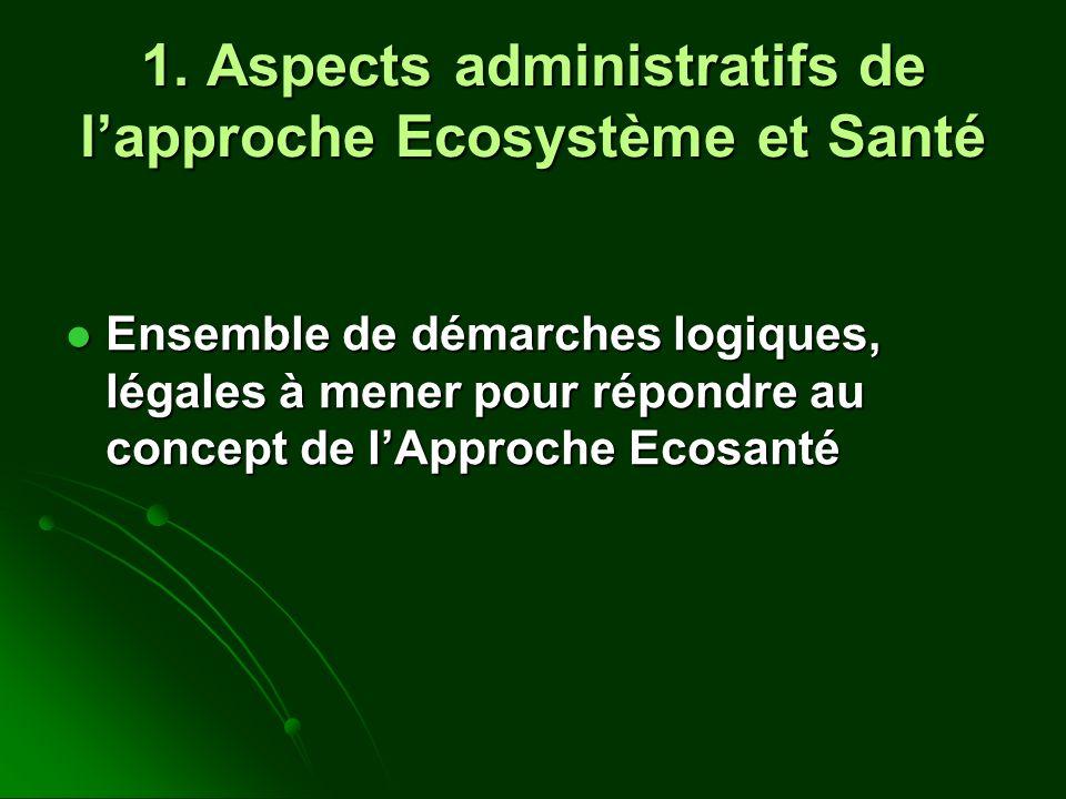 1. Aspects administratifs de lapproche Ecosystème et Santé Ensemble de démarches logiques, légales à mener pour répondre au concept de lApproche Ecosa