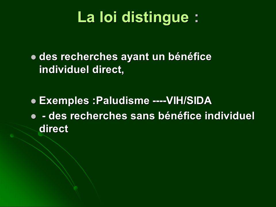 La loi distingue : des recherches ayant un bénéfice individuel direct, des recherches ayant un bénéfice individuel direct, Exemples :Paludisme ----VIH