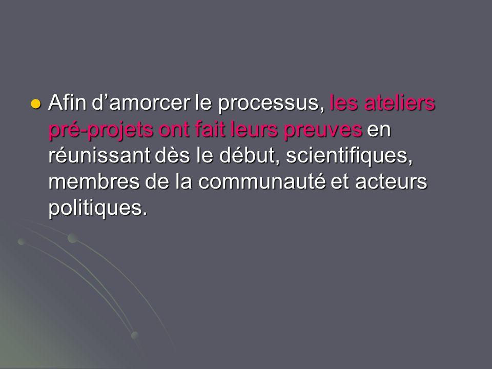 Afin damorcer le processus, les ateliers pré-projets ont fait leurs preuves en réunissant dès le début, scientifiques, membres de la communauté et acteurs politiques.