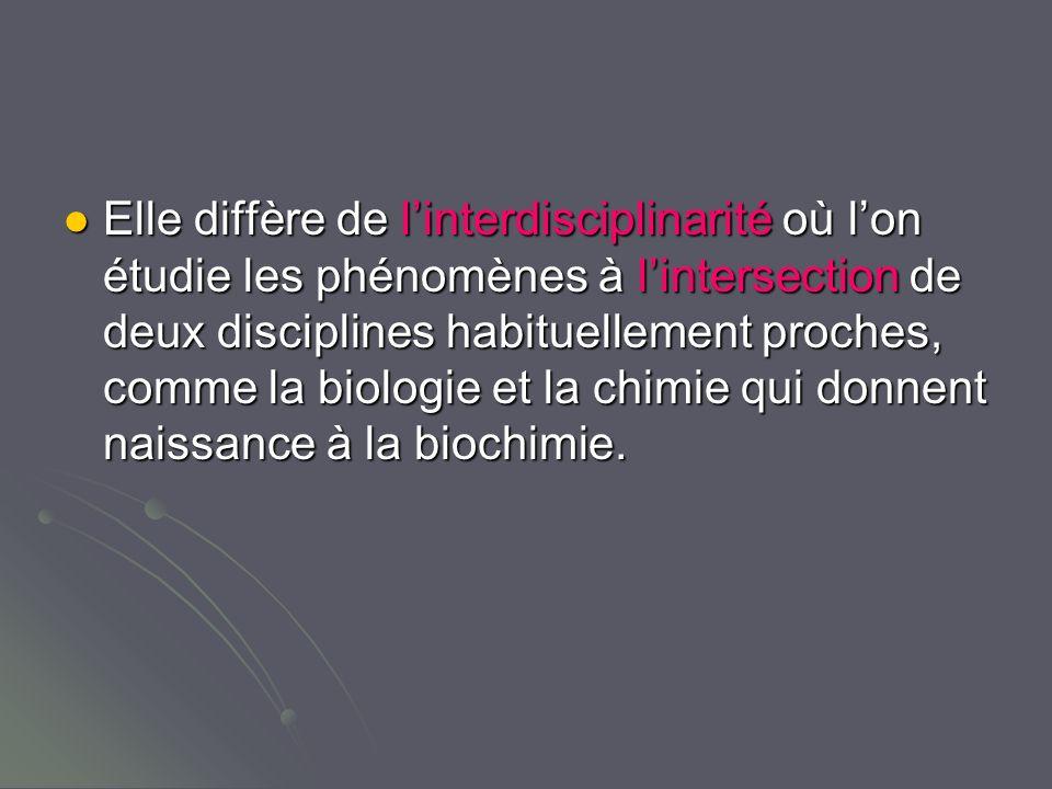 Elle diffère de linterdisciplinarité où lon étudie les phénomènes à lintersection de deux disciplines habituellement proches, comme la biologie et la chimie qui donnent naissance à la biochimie.