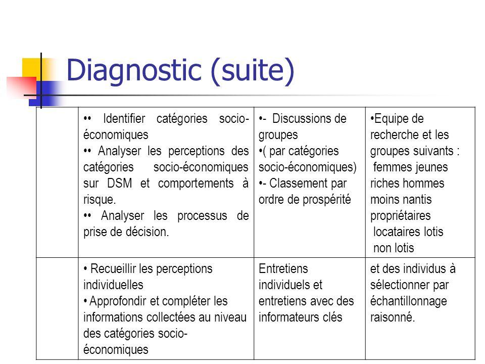 Diagnostic (suite) Identifier catégories socio- économiques Analyser les perceptions des catégories socio-économiques sur DSM et comportements à risqu
