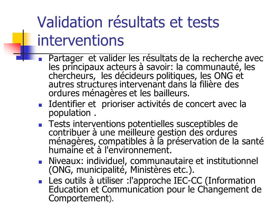 Validation résultats et tests interventions Partager et valider les résultats de la recherche avec les principaux acteurs à savoir: la communauté, les