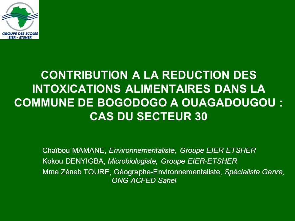 CONTRIBUTION A LA REDUCTION DES INTOXICATIONS ALIMENTAIRES DANS LA COMMUNE DE BOGODOGO A OUAGADOUGOU : CAS DU SECTEUR 30 Chaïbou MAMANE, Environnement