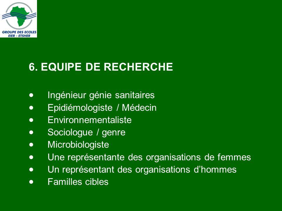 6. EQUIPE DE RECHERCHE Ingénieur génie sanitaires Epidiémologiste / Médecin Environnementaliste Sociologue / genre Microbiologiste Une représentante d