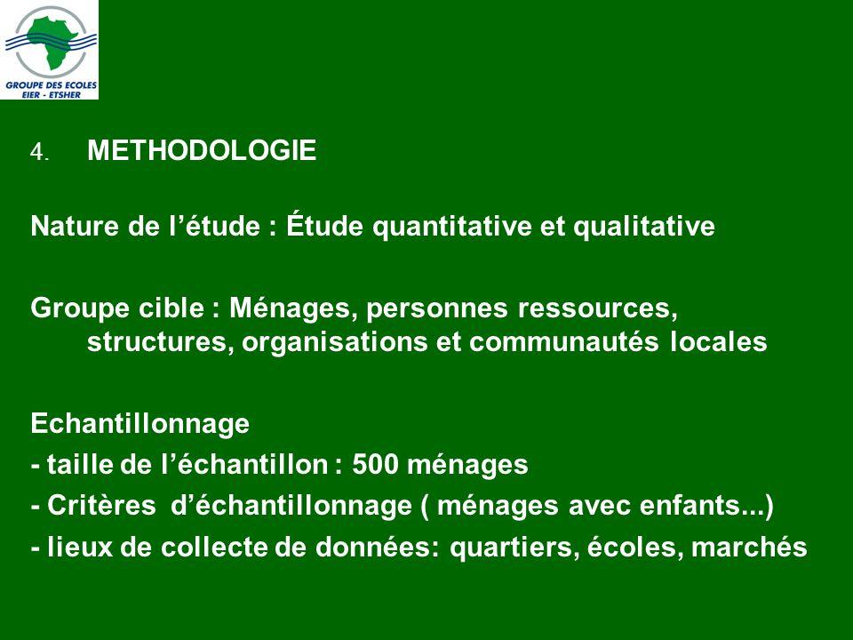 4. METHODOLOGIE Nature de létude : Étude quantitative et qualitative Groupe cible : Ménages, personnes ressources, structures, organisations et commun