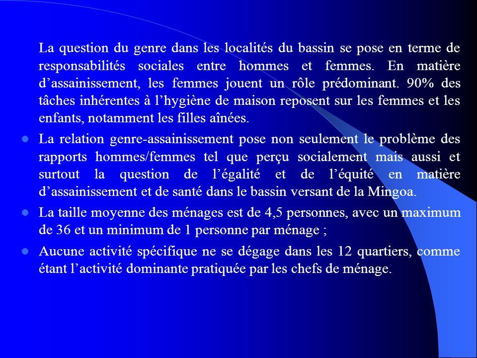 La question du genre dans les localités du bassin se pose en terme de responsabilités sociales entre hommes et femmes. En matière dassainissement, les