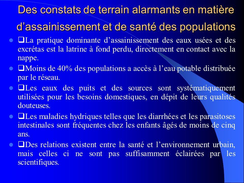 Des constats de terrain alarmants en matière dassainissement et de santé des populations La pratique dominante dassainissement des eaux usées et des e