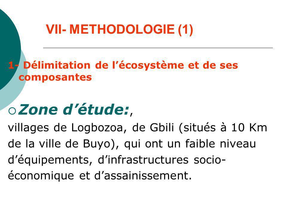 VII- METHODOLOGIE (1) 1- Délimitation de lécosystème et de ses composantes Zone détude:, villages de Logbozoa, de Gbili (situés à 10 Km de la ville de